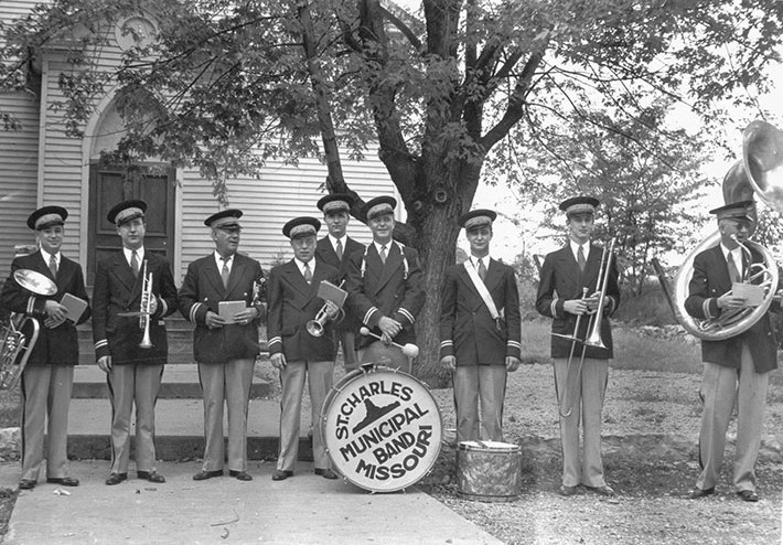 St. Charles Municipal Band at a Church Picnic, circa 1940.